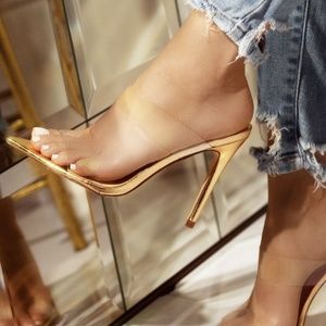 14bb3727efb47 NEW🔥 Clear Open Toe Mules Sandal Stiletto Heel Boutique